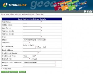 TransLink Online Web Ticketing - First Screen