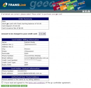TransLink Online Web Ticketing - Third Screen