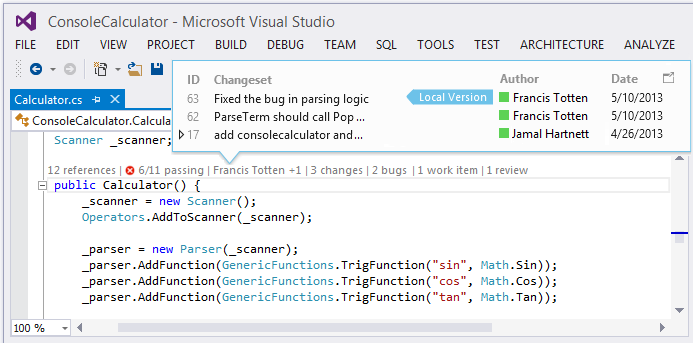 The new, shiny goodies in Visual Studio and TFS