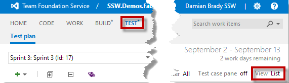 Team Foundation Service - Test Grid View
