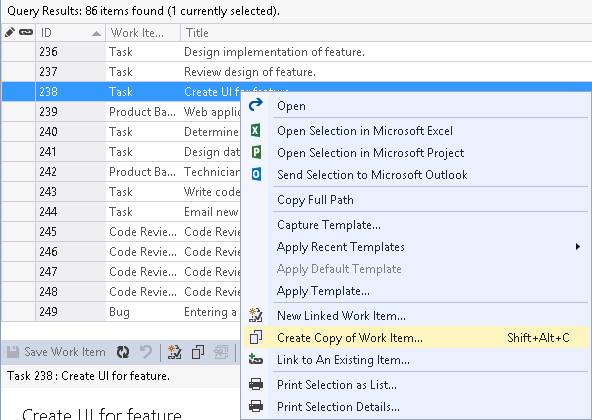 Visual Studio - Copy Work Item