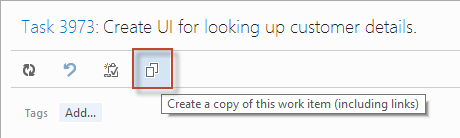 The Copy Work Item button in Team Web Access