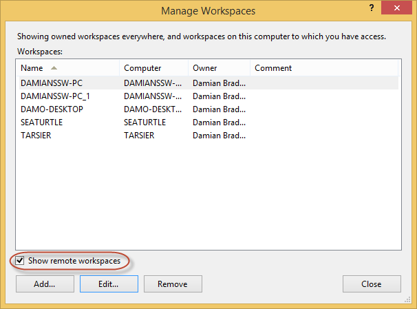 The Workspaces Dialog in Visual Studio