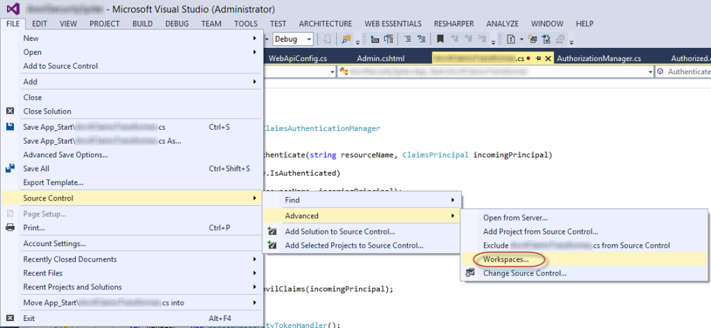 Opening TFS Workspaces in Visual Studio