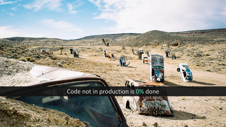 Code not in production is 0% done