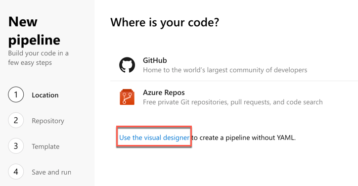 Creating a new pipeline with the visual designer